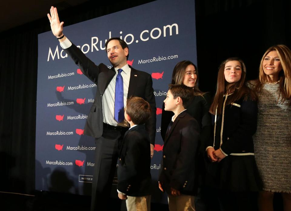 Marco Rubio embraced his family following his address to supporters following the N.H. Primary.